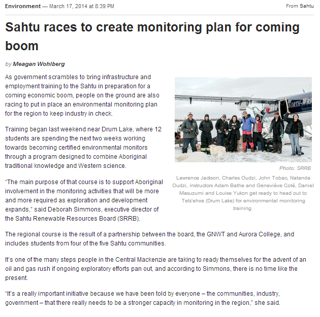Sahtu races to creat monitoring plan for coming boom