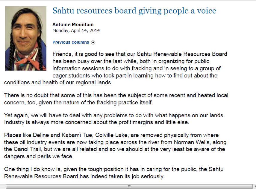 sahtu board giving people a voice
