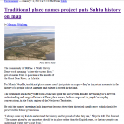 Traditional place names project puts Sahtu history on map