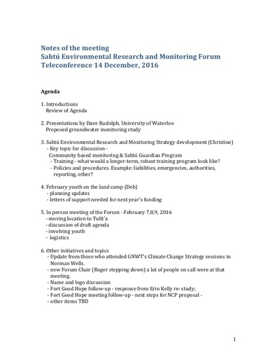 Sahtu Renewable Resources Board (SRRB) - Teleconference Notes