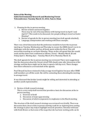 Sahtu Renewable Resources Board (SRRB) - Teleconference Notes