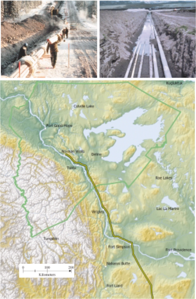 Laying the present-day Enbridge Pipeline and route map