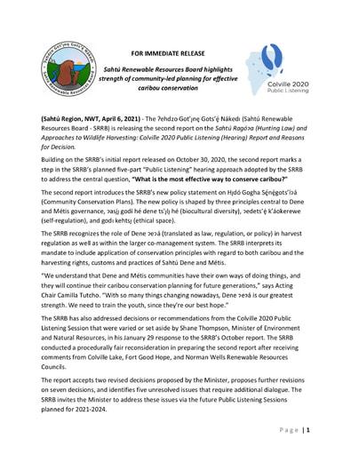 21-04-07 SRRB Media Release - Second Colville 2020 PLS Report