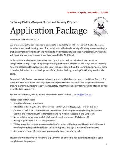 Nę K'ǝ́dıkǝ́ Application Package
