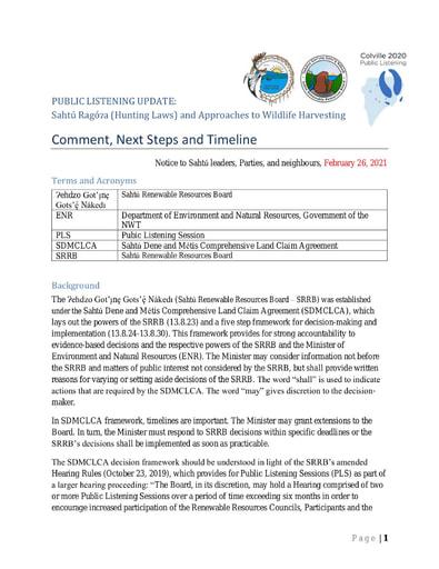 21-02-26 Colville 2020 Public Listening Update - Parties Comment, Next Steps, Timeline