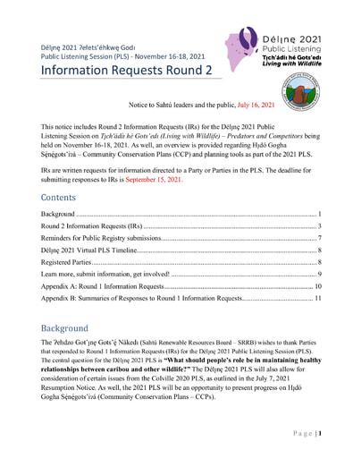 21-07-16 Délı̨nę 2021 PLS Notice - IR2