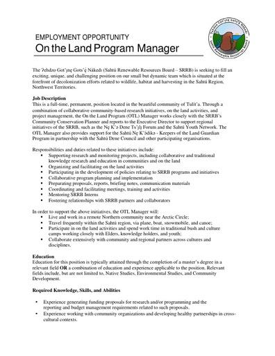 OTL Manager Web Job Ad