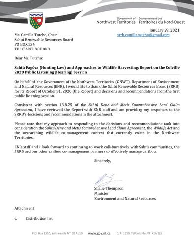 21-01-29 GNWT-ENR Minister Shane Thompson Response to SRRB Colville 2020 PLS Final Report