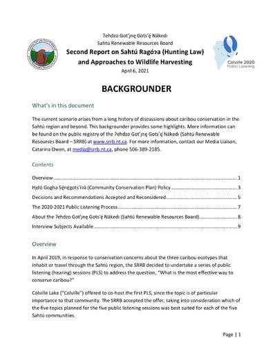 21-04-07 SRRB Media Backgrounder - Second Colville 2020 PLS Report